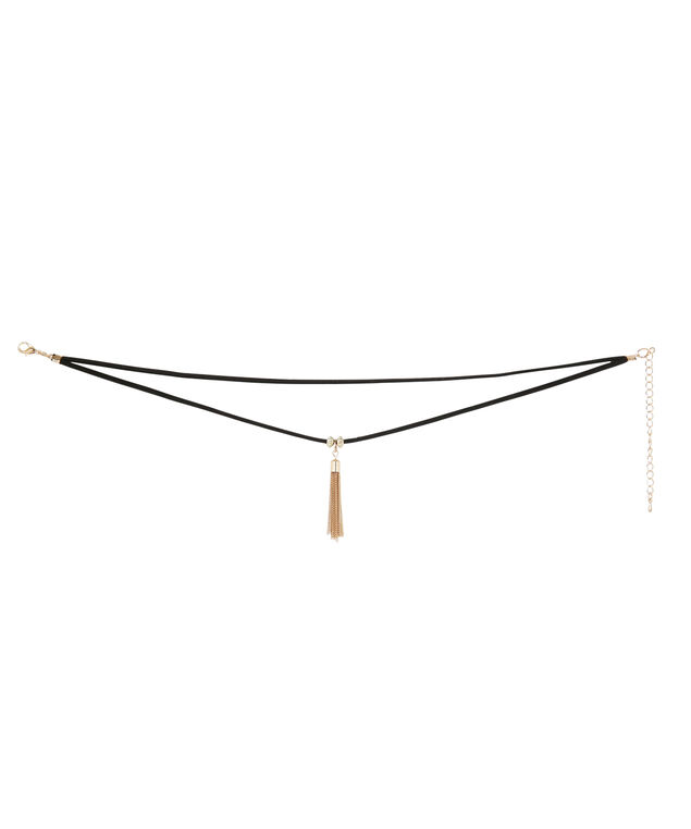 double strand choker with tassel, BLACK/GOLD, hi-res