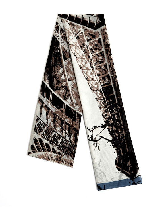Neutral Eiffel Tower Scarf, Nude/Blue Cloud/Charcoal, hi-res