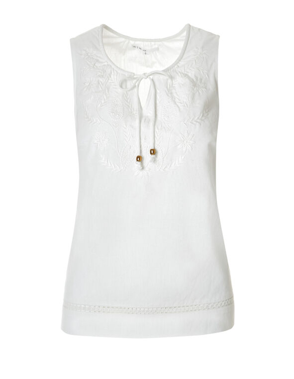 Ivory Embroidered Tie Blouse, Ivory, hi-res