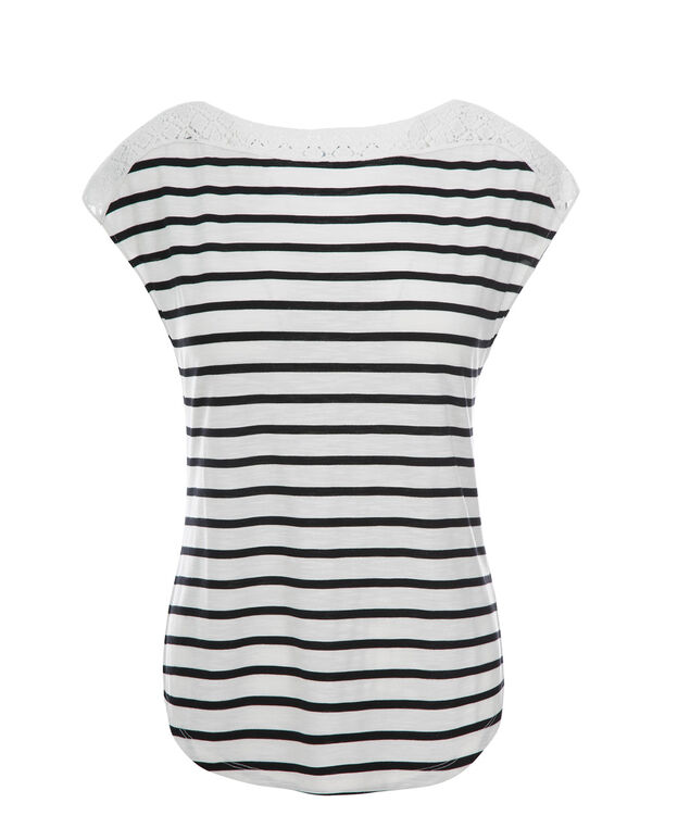 Crochet Boat Neck Top, Black/White Stripe, hi-res