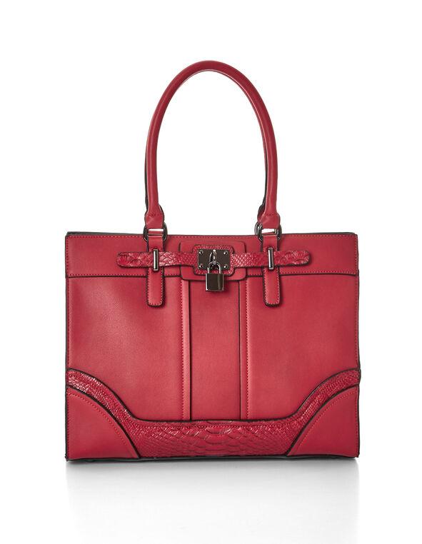 Red Croco Handbag, Red, hi-res