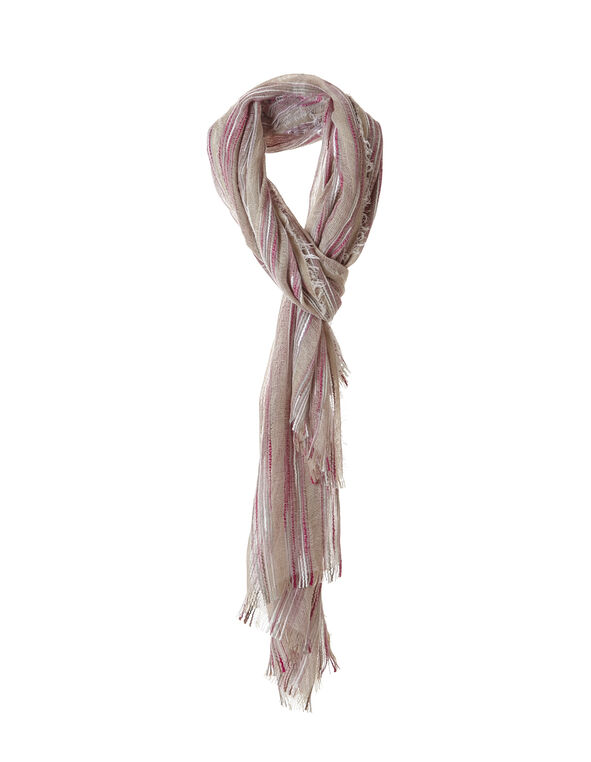 Ballet Pink Textured Stripe Scarf, Ballet Pink/Natural, hi-res