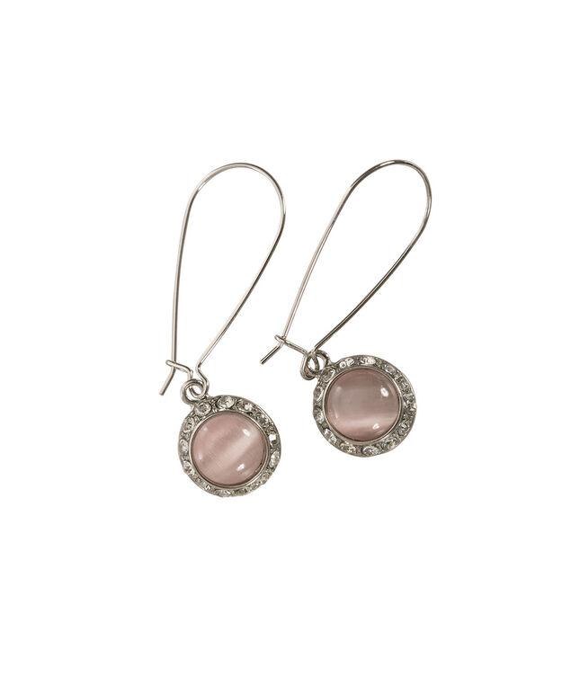 Round Cateye Earring, Misty Pink/Rhodium, hi-res