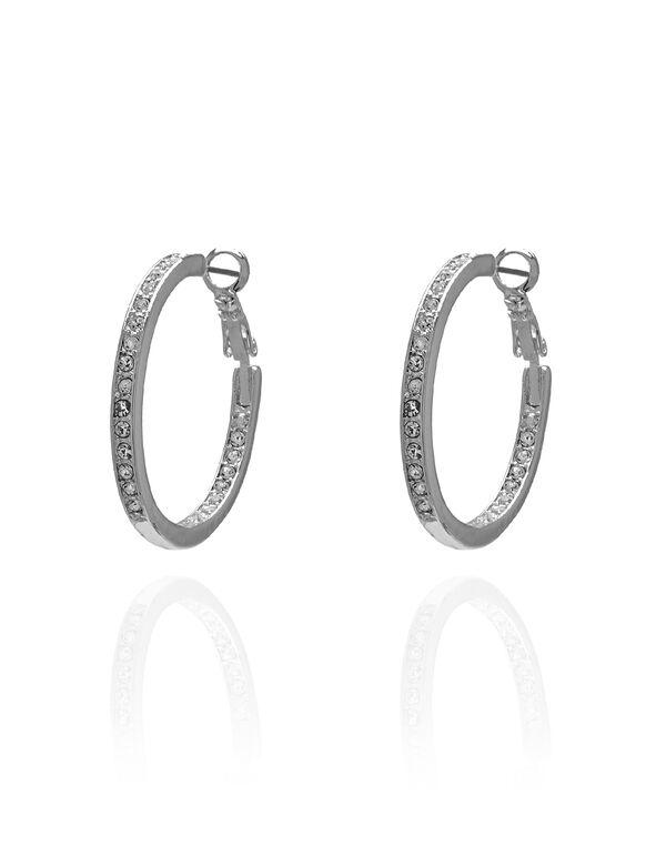 Silver Crystal Hoop Earring, Silver, hi-res