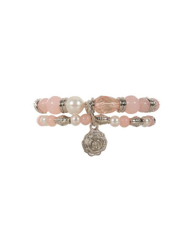 Rose Charm Bracelet, Pink Blush/Rhodium, hi-res