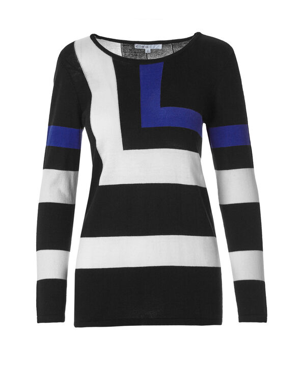 Colour Block Sweater, Black/Ivory/Royal Blue, hi-res