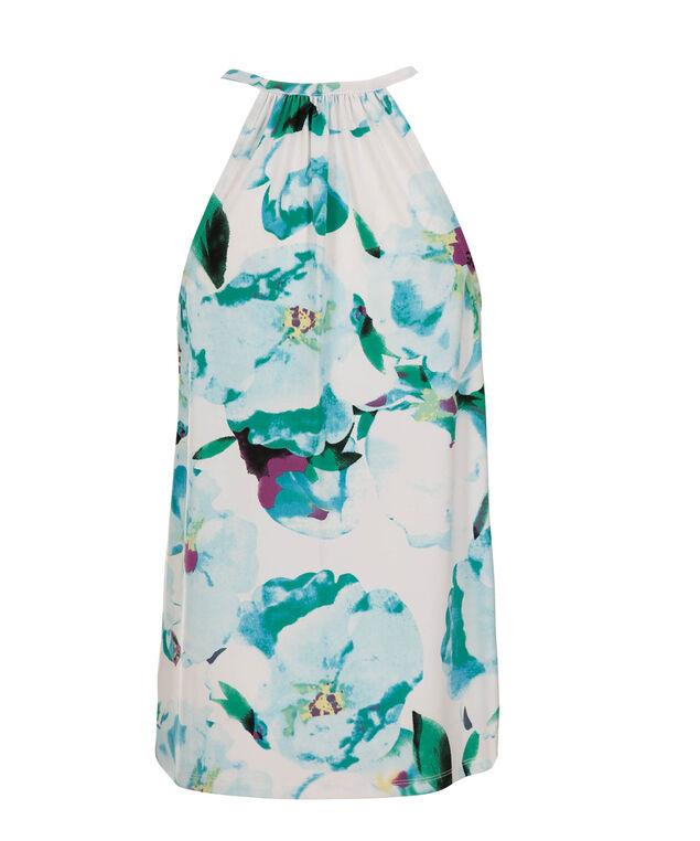 Keyhole Floral Halter, Blue/White Print, hi-res