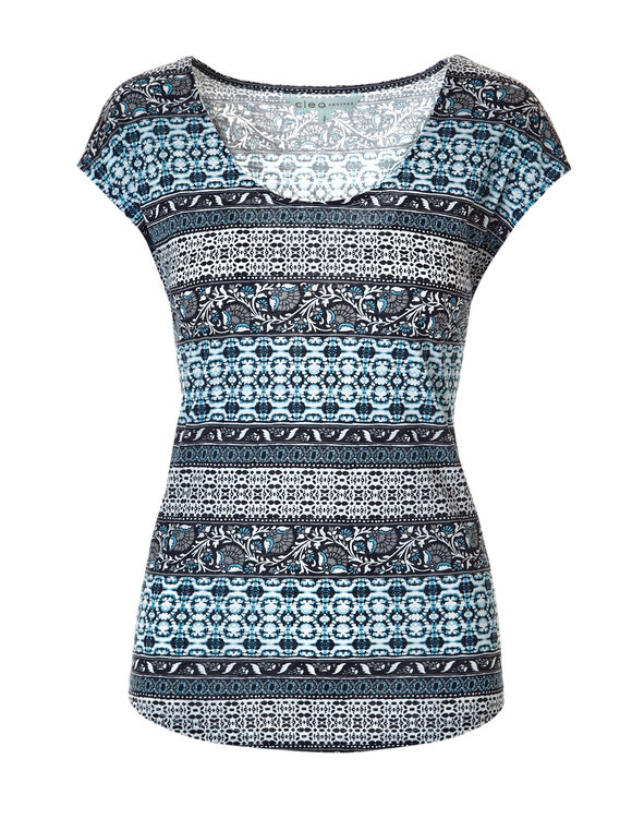 Turquoise Print Deep Scoop Tee, Light Turquoise/White/Navy, hi-res