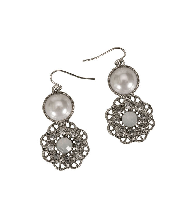 Pearl Statement Earring, White/Rhodium, hi-res