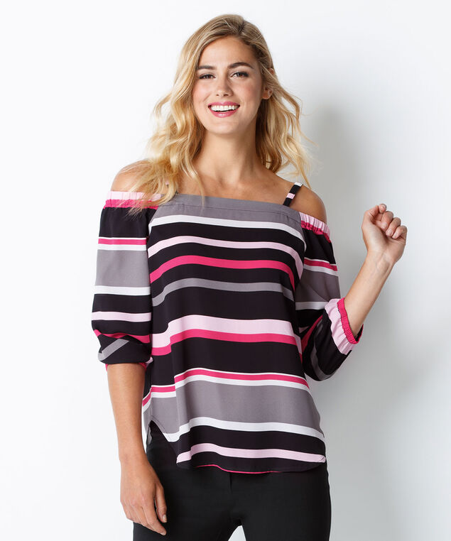 Striped Cold Shoulder Blouse, Pink Print, hi-res