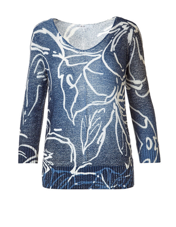V-Neck Printed Sweater, Blue/Ivory, hi-res