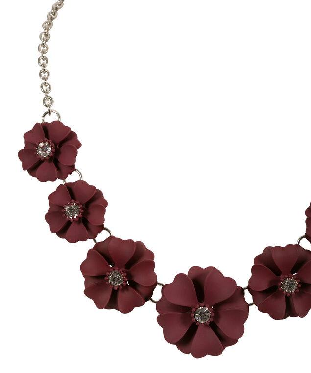 Painted Floral Statement Necklace, Burgundy/Rhodium, hi-res