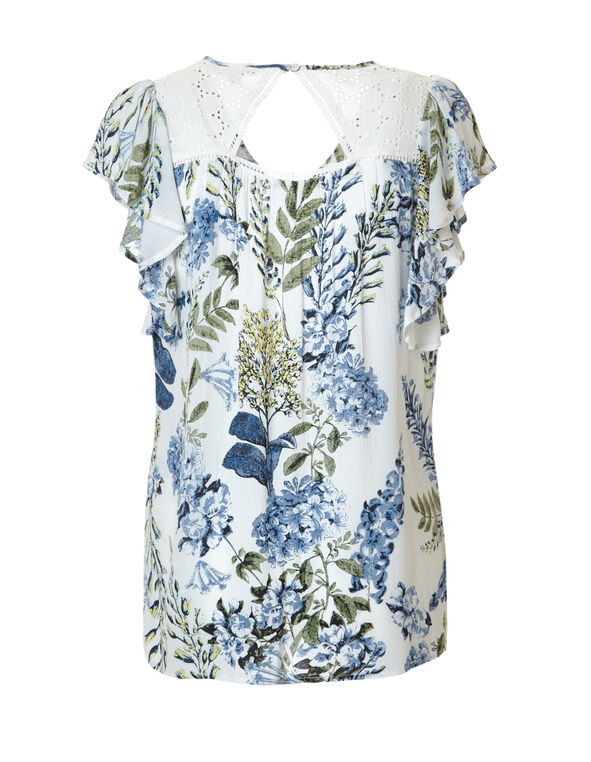 Floral Print Open Back Blouse, White/Washed Blue/Sage, hi-res