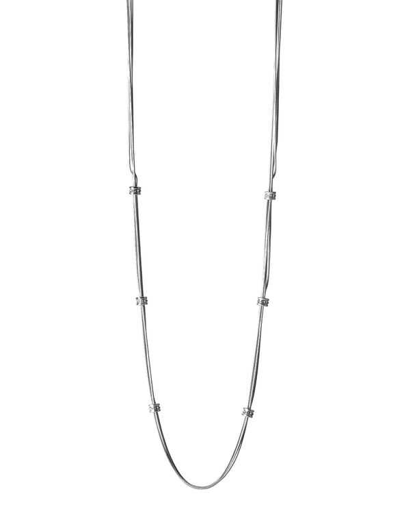 Silver Rondelle Chain Necklace, Silver, hi-res
