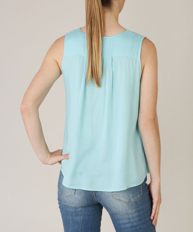 tie front sleeveless top - wb, LT BLUE, hi-res
