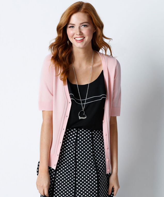 Elbow Sleeve Cardi, Misty Pink, hi-res