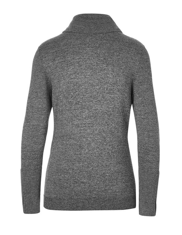 Mixed Grey Turtleneck Sweater, Black/White, hi-res