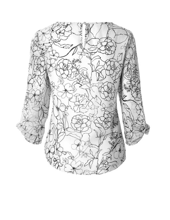3/4 Sleeve Butterfly Blouse, Ivory/Black, hi-res