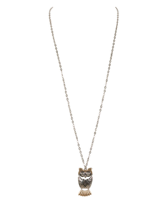 Mixed Metal Owl Necklace, Rhodium/Burnished Gold, hi-res