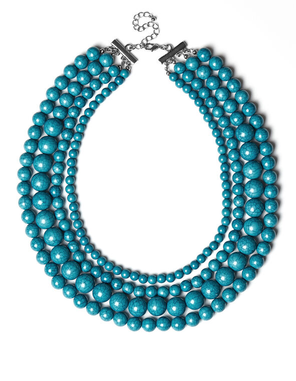 Turquoise Marble Bead Necklace, Turquoise, hi-res