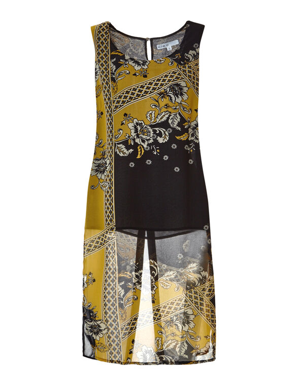 Saffron Print Long Tunic, Black/Saffron/Nude, hi-res