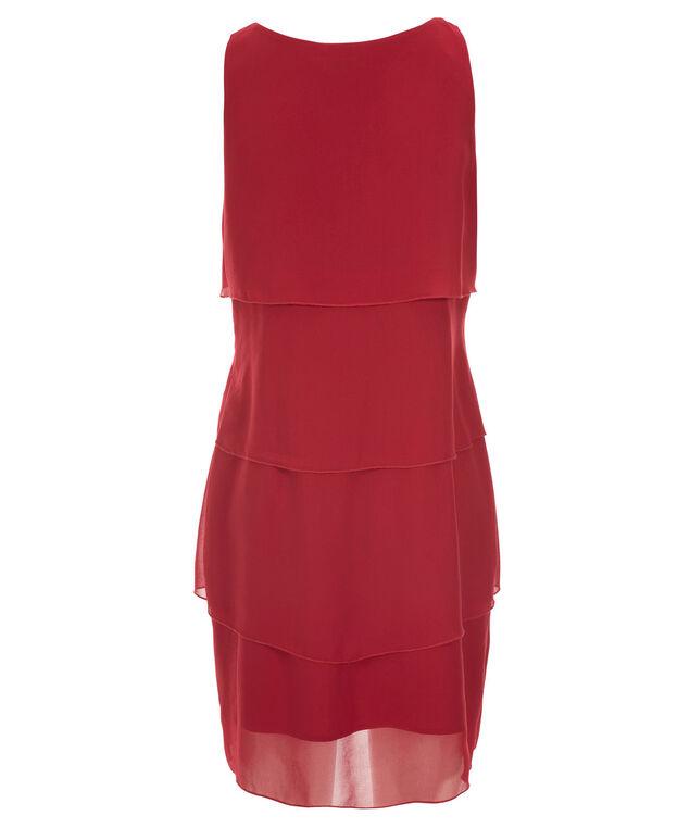 Tiered Scoop Dress, Crimson Red, hi-res