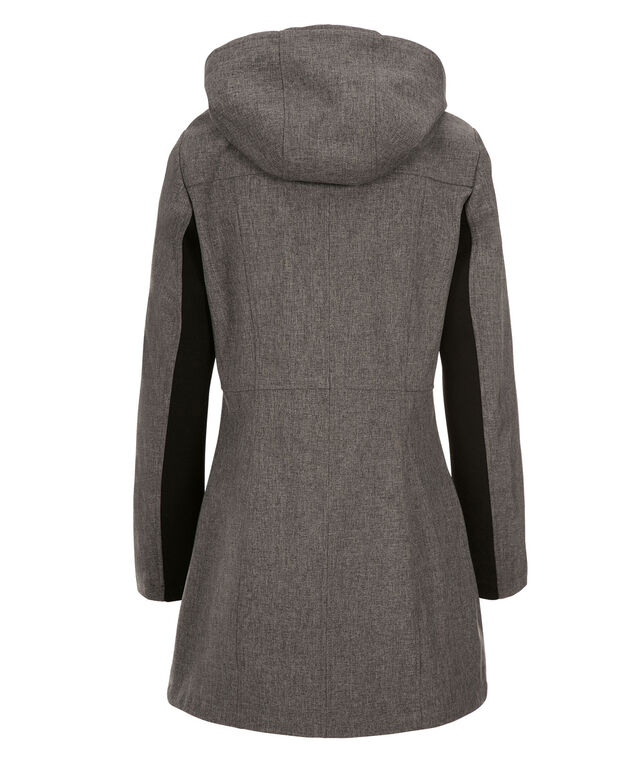 Asymmetrical Hooded Trench Coat, Grey, hi-res