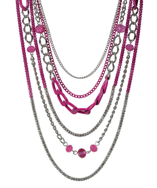 Coloured Chain Necklace, Vibrant Pink/Rhodium, hi-res