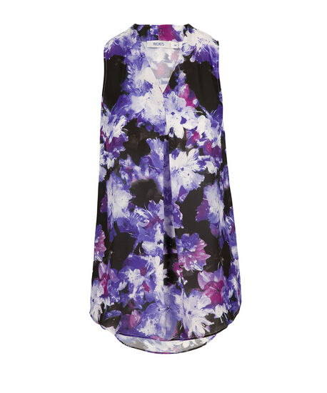 Pleat Front Tank, Purple Print, hi-res