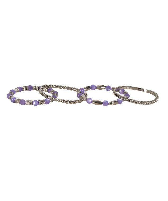 Stretch Bracelet Set, Purple/Rhodium, hi-res