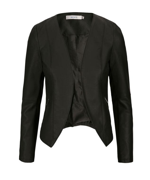 Open Front Blazer, Black, hi-res