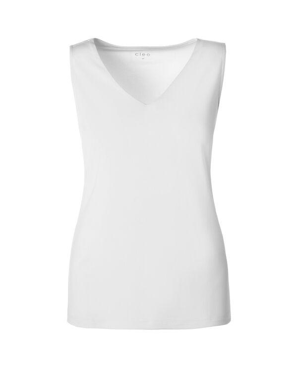 White V-Neck Essential Top, White, hi-res