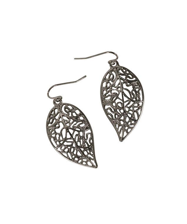 Leaf Filigree Earring, Rhodium, hi-res