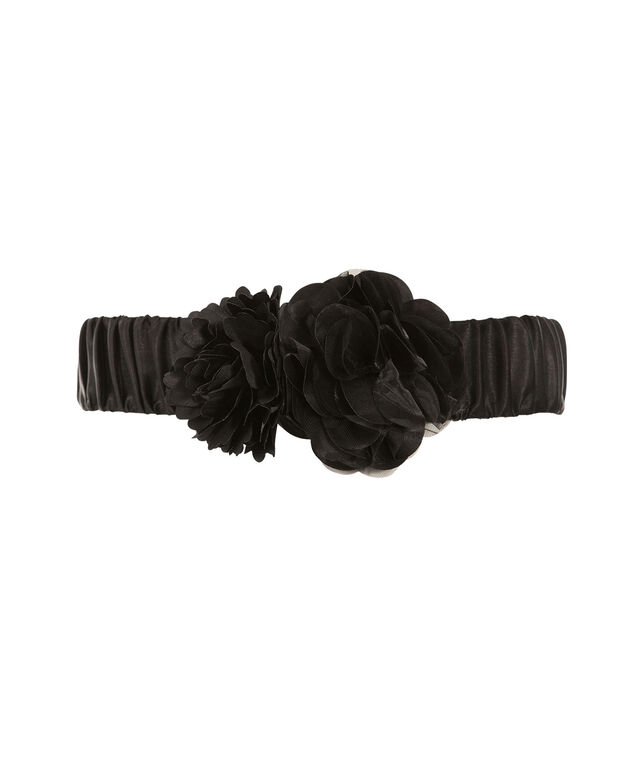 Ruffle Flower Satin Stretch Belt, Black, hi-res