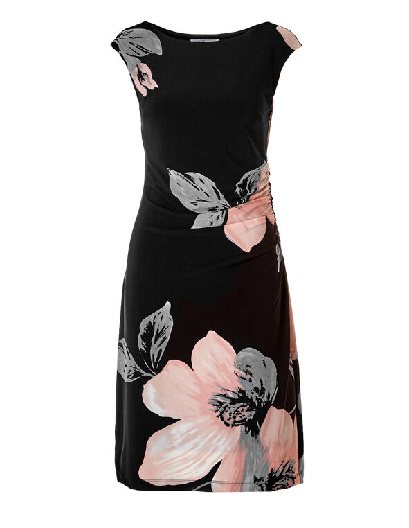 Black Floral Shift Dress, Black/Soft Pink/Lt. Grey, hi-res