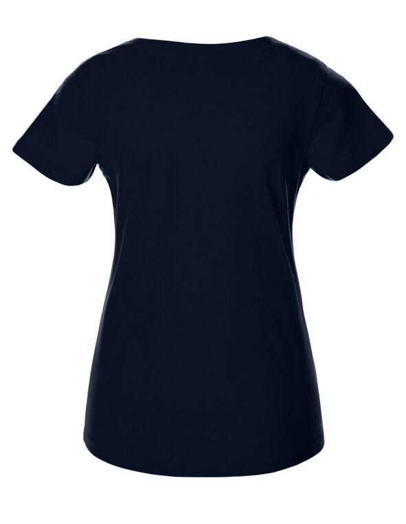Navy Short Sleeve V-Neck Tee, Navy, hi-res