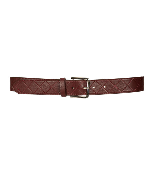 Diamond Texture Pant Belt, Burgundy, hi-res