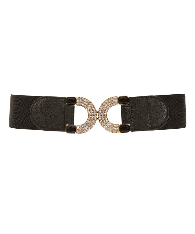 Crystal Circle Buckle Belt, Black/Gold, hi-res