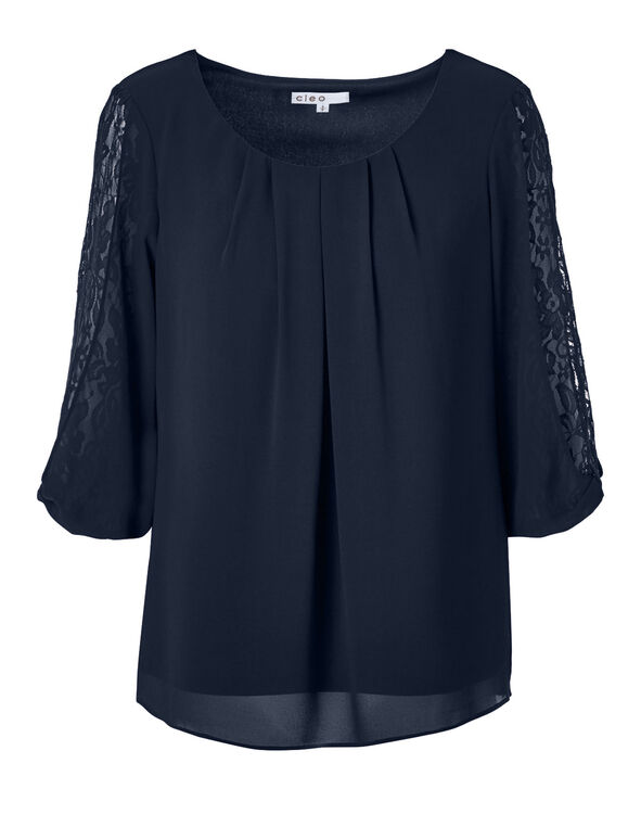 Navy Lace Sleeve Blouse, Navy, hi-res