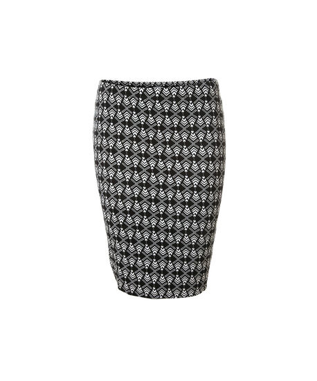 geo print pencil skirt, BLACK, hi-res