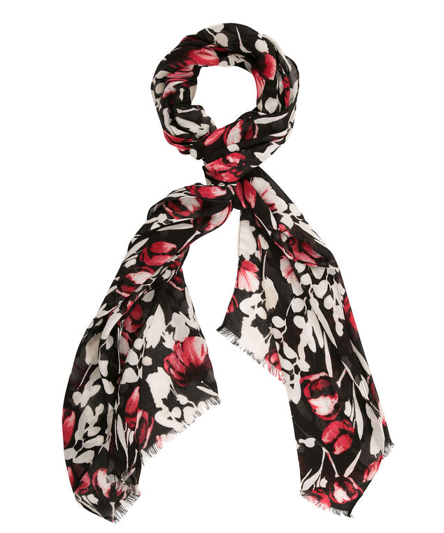 Tulip Print Scarf, Red/White/Black, hi-res