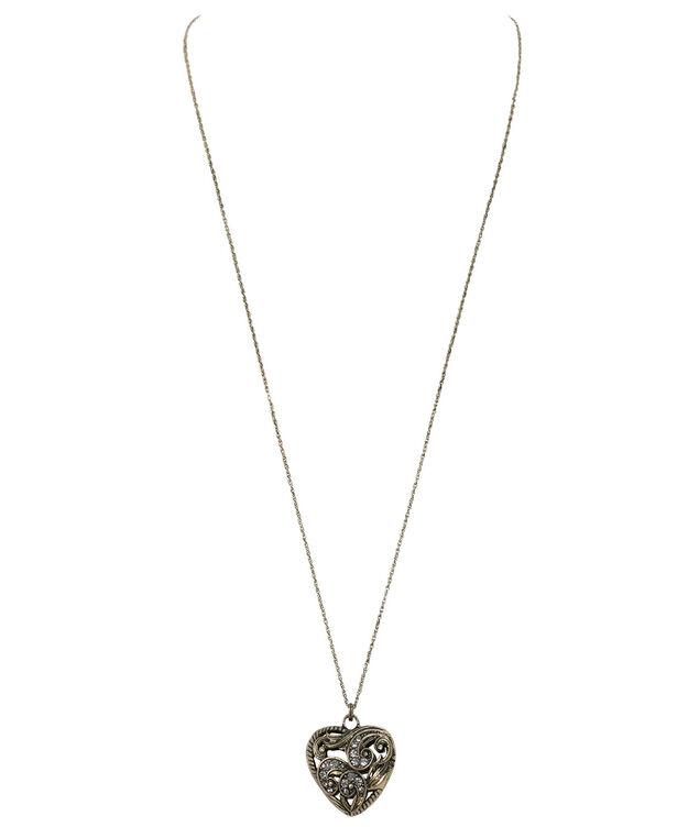 Heart Pendant Necklace, Burnished Gold, hi-res