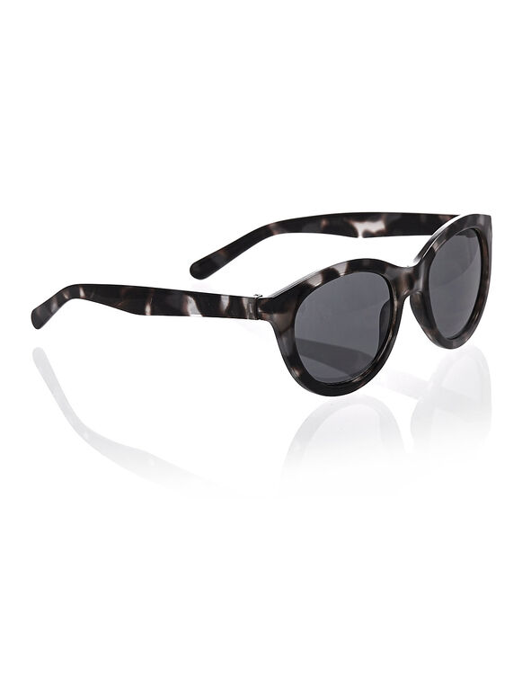 Black Tortoise Print Sunglasses, Black/Grey, hi-res