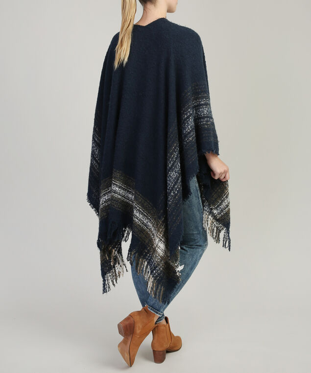 textured cape with fringe, NAVY COMBO, hi-res