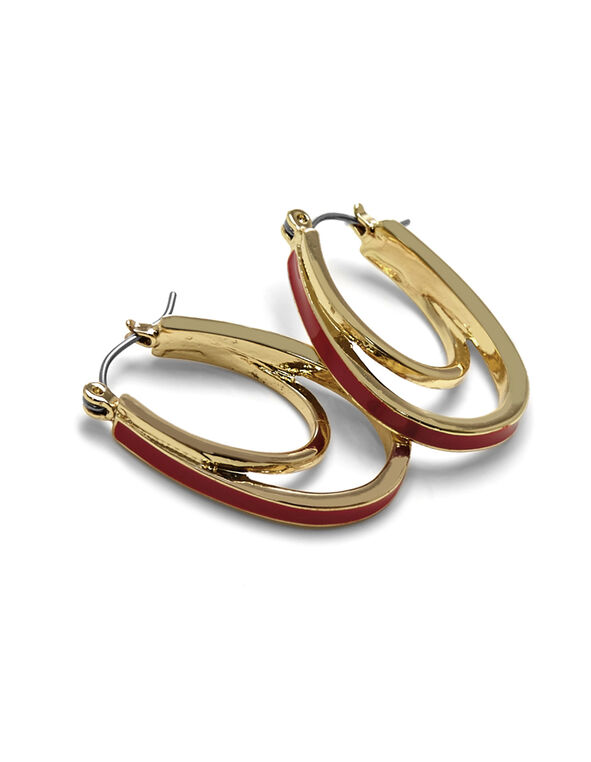 Red Epoxy Teardrop Earring, Gold/Red, hi-res