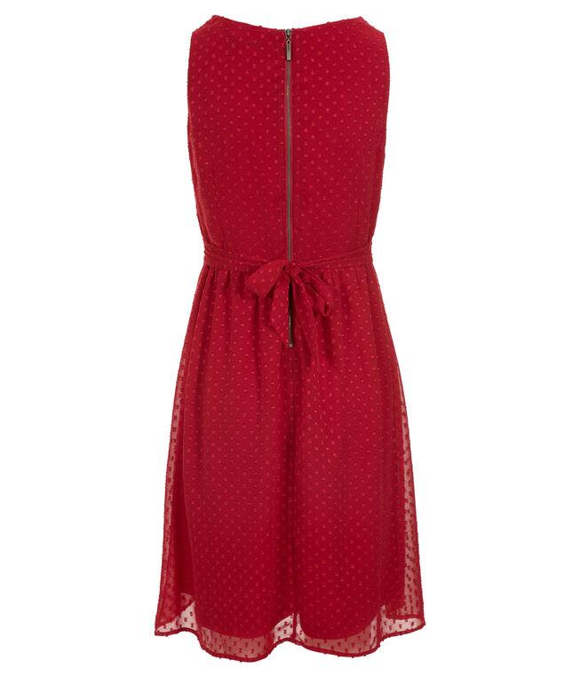 Cross Over Dot Dress, Crimson, hi-res