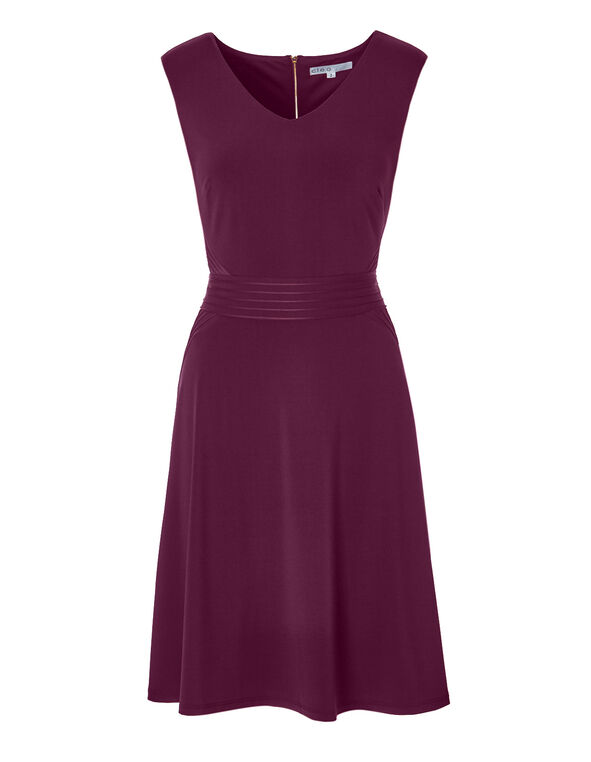Claret Pintuck Fit and Flare Dress, Claret, hi-res