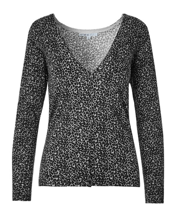 Animal Print Cardigan Sweater, Black/White/Grey, hi-res