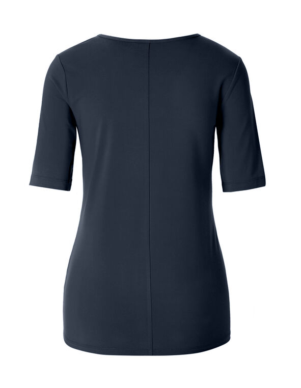 Navy Cut Out Neckline Top, Navy, hi-res