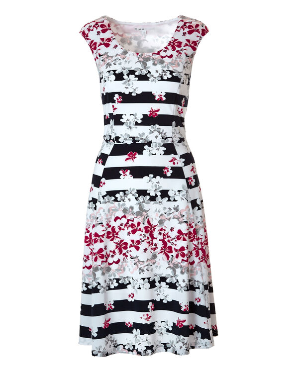 Floral Stripe Fit and Flare Dress, Navy/Pink/White/Grey, hi-res